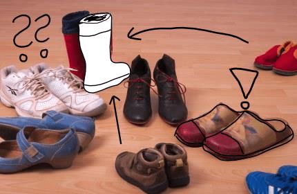Eine4 Auswahl von Schuhen für Familienaufstellungen